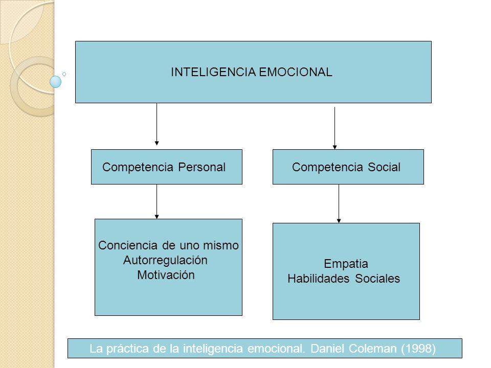 Competencia PersonalCompetencia Social Conciencia de uno mismo Autorregulación Motivación Empatia Habilidades Sociales La práctica de la inteligencia