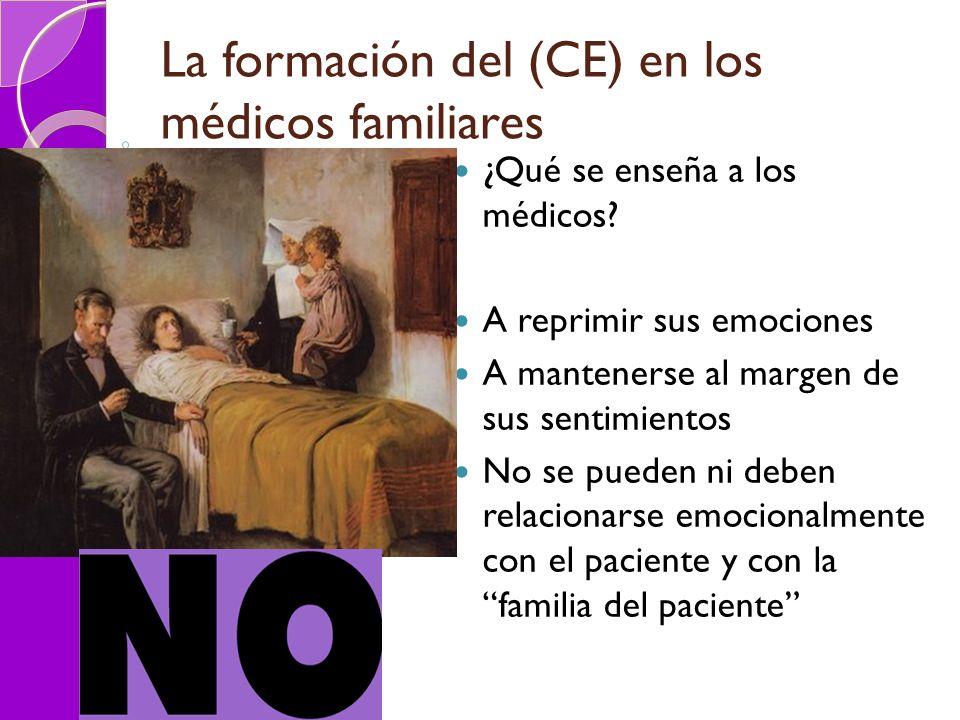 La formación del (CE) en los médicos familiares ¿Qué se enseña a los médicos? A reprimir sus emociones A mantenerse al margen de sus sentimientos No s