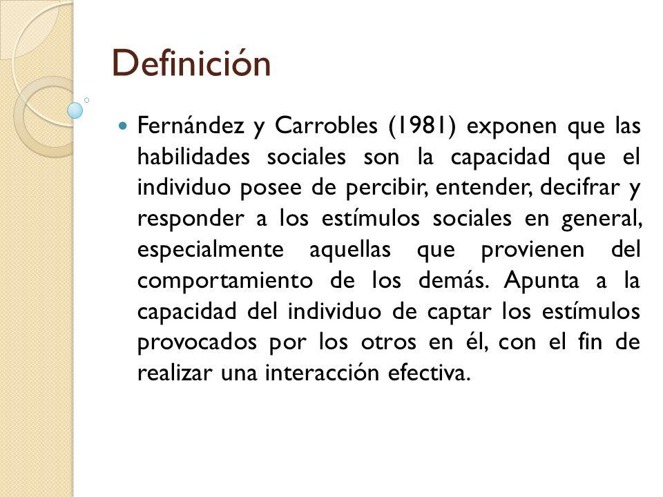 Fernández y Carrobles (1981) exponen que las habilidades sociales son la capacidad que el individuo posee de percibir, entender, decifrar y responder