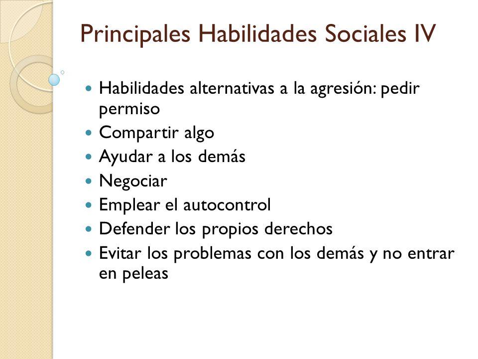 Habilidades alternativas a la agresión: pedir permiso Compartir algo Ayudar a los demás Negociar Emplear el autocontrol Defender los propios derechos