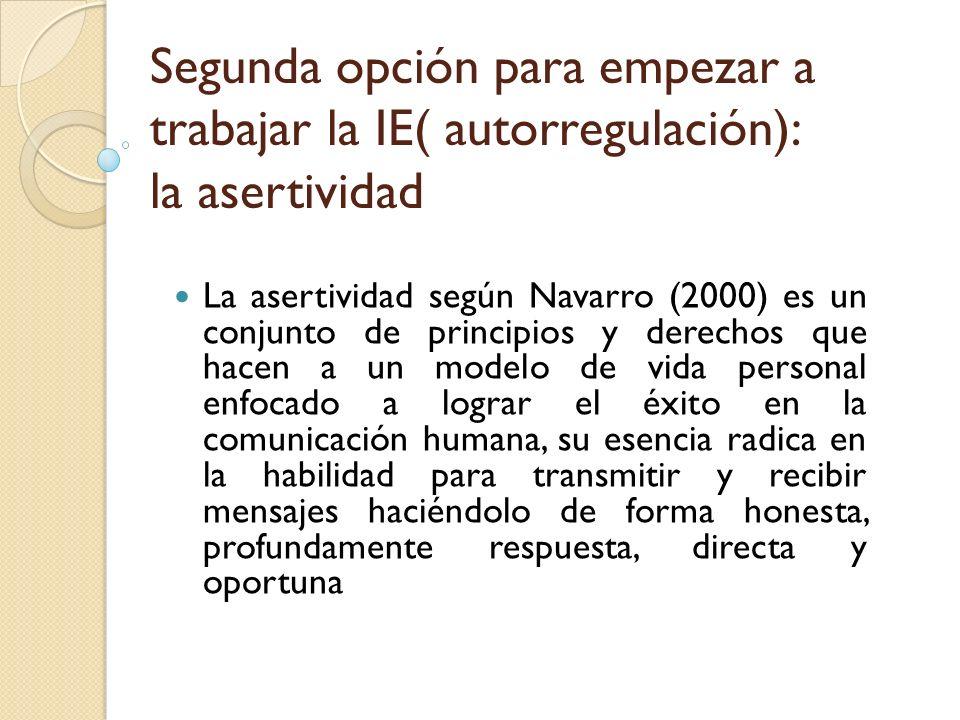 La asertividad según Navarro (2000) es un conjunto de principios y derechos que hacen a un modelo de vida personal enfocado a lograr el éxito en la co