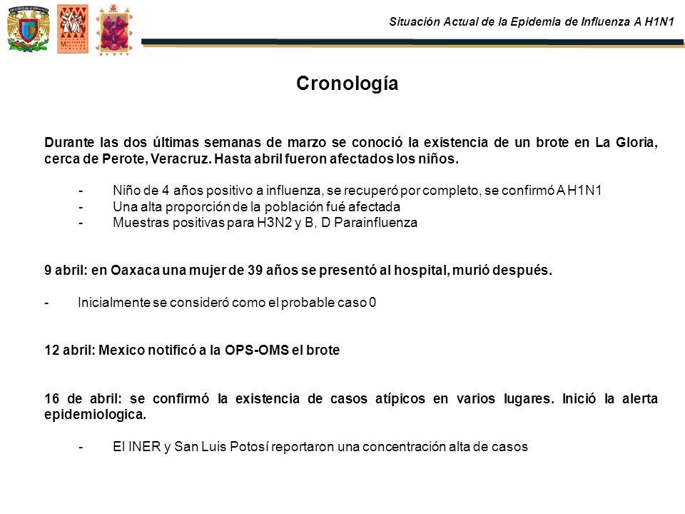 Cronología Durante las dos últimas semanas de marzo se conoció la existencia de un brote en La Gloria, cerca de Perote, Veracruz. Hasta abril fueron a