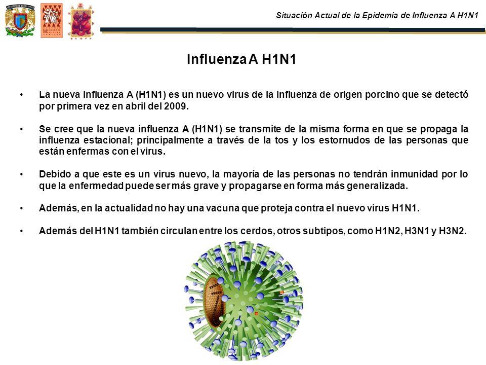 Influenza A H1N1 La nueva influenza A (H1N1) es un nuevo virus de la influenza de origen porcino que se detectó por primera vez en abril del 2009. Se