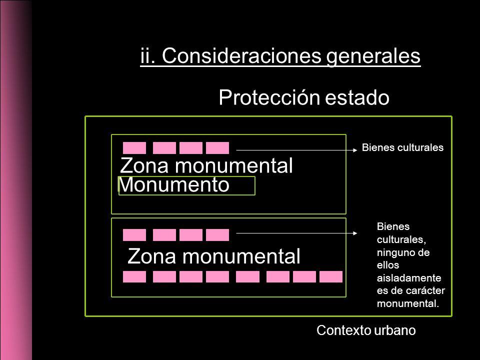 Monumento Zona monumental Protección estado Zona monumental Bienes culturales Bienes culturales, ninguno de ellos aisladamente es de carácter monumental.