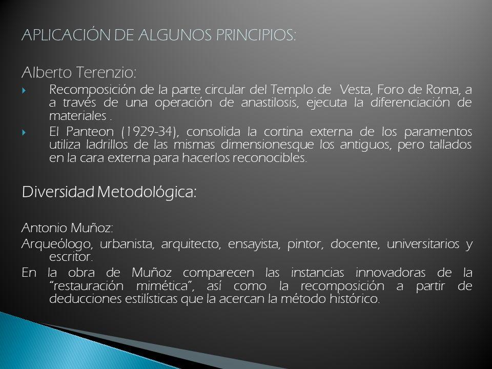 APLICACIÓN DE ALGUNOS PRINCIPIOS: Alberto Terenzio: Recomposición de la parte circular del Templo de Vesta, Foro de Roma, a a través de una operación
