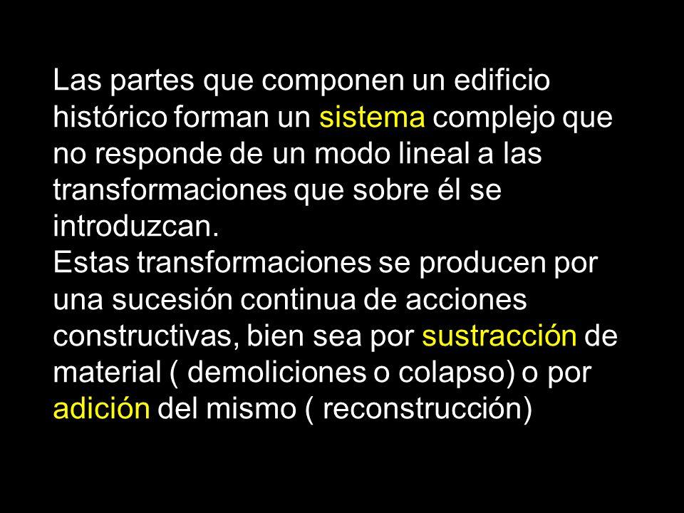 Las partes que componen un edificio histórico forman un sistema complejo que no responde de un modo lineal a las transformaciones que sobre él se intr