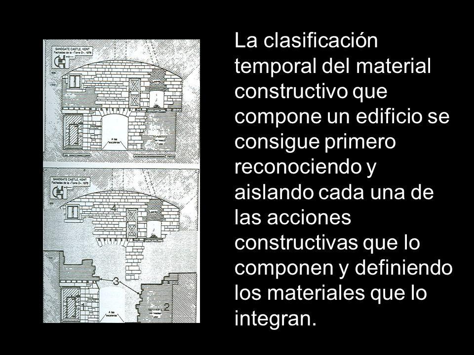 La clasificación temporal del material constructivo que compone un edificio se consigue primero reconociendo y aislando cada una de las acciones const