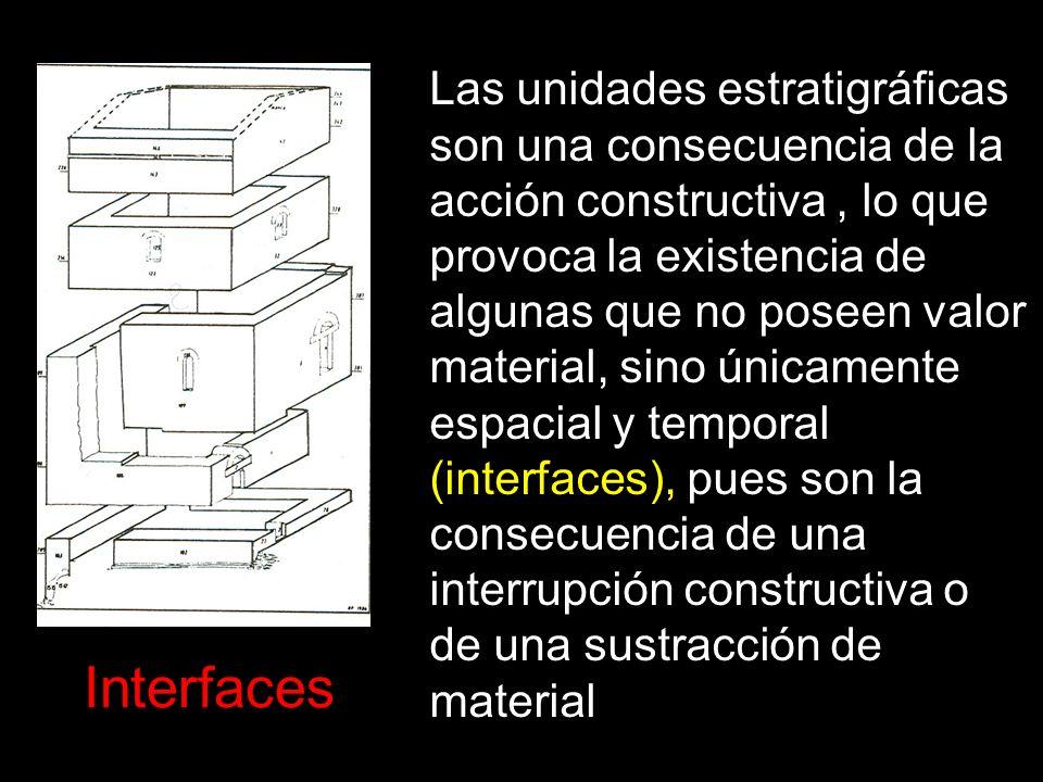 Las unidades estratigráficas son una consecuencia de la acción constructiva, lo que provoca la existencia de algunas que no poseen valor material, sin