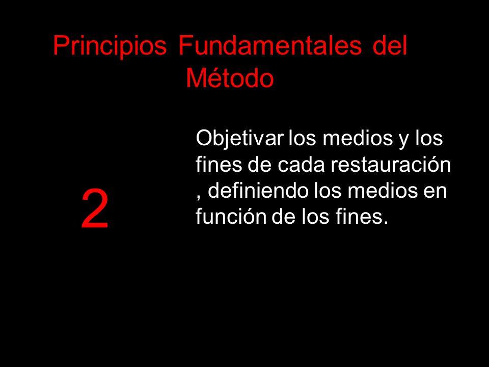 Objetivar los medios y los fines de cada restauración, definiendo los medios en función de los fines. Principios Fundamentales del Método 2