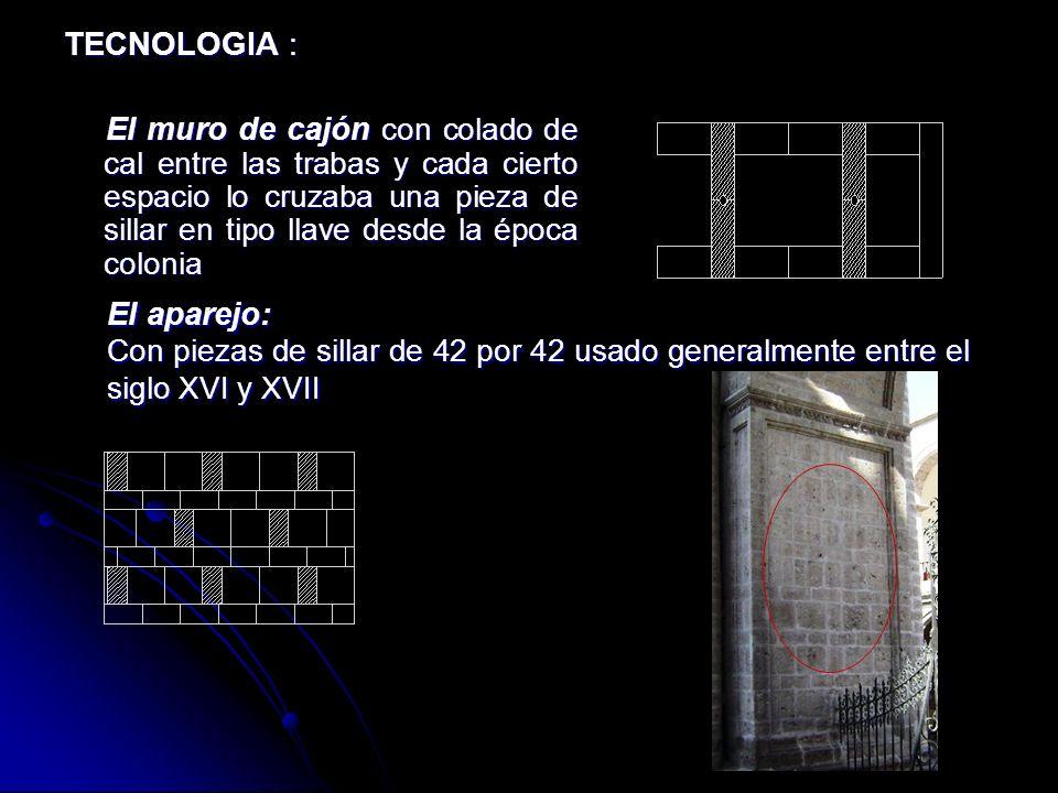 SISTEMA CONSTRUCTIVO: MATERIAL: El sillar Colonia y Republica El ladrillo en bóvedas Colonia y Republico La madera en barandas de la galería del arco