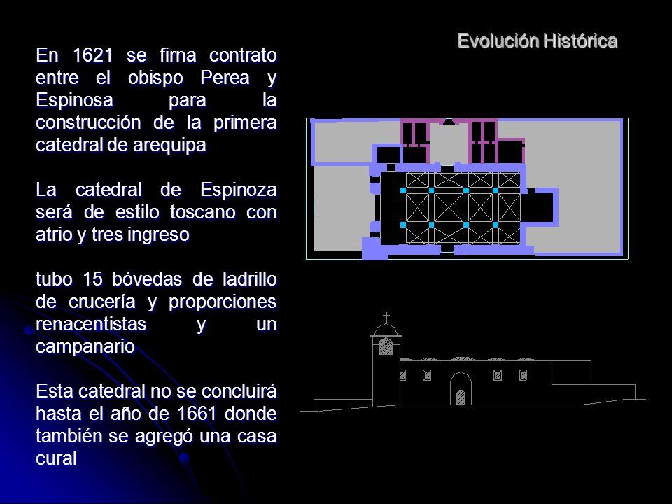 Evolución Histórica El 1544 se inicia la edificación de la iglesia mayor de arequipa El contrato para esta edificación se repartió entre 5 alarifes y