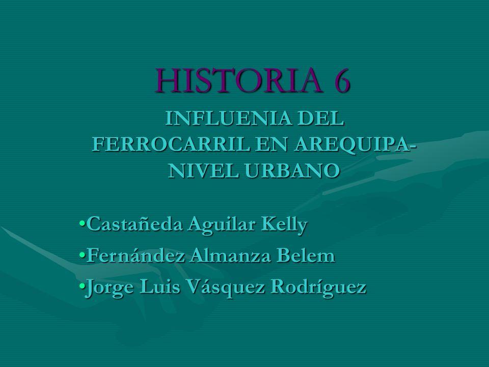 HISTORIA 6 INFLUENIA DEL FERROCARRIL EN AREQUIPA- NIVEL URBANO Castañeda Aguilar KellyCastañeda Aguilar Kelly Fernández Almanza BelemFernández Almanza