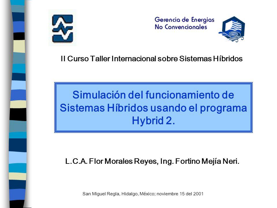II Curso Taller Internacional sobre Sistemas Híbridos Simulación del funcionamiento de Sistemas Híbridos usando el programa Hybrid 2. L.C.A. Flor Mora