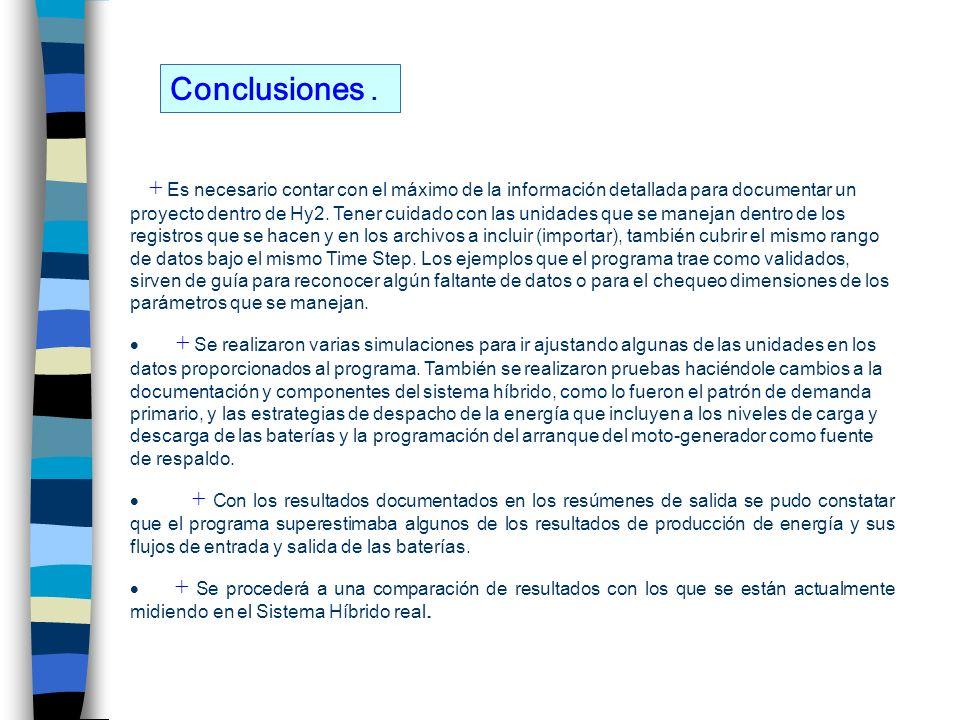 Conclusiones. + Es necesario contar con el máximo de la información detallada para documentar un proyecto dentro de Hy2. Tener cuidado con las unidade