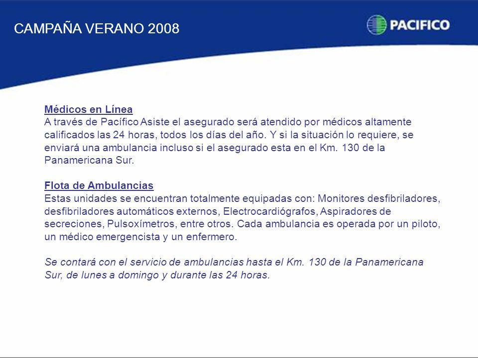 CAMPAÑA VERANO 2008 Médicos en Línea A través de Pacífico Asiste el asegurado será atendido por médicos altamente calificados las 24 horas, todos los días del año.