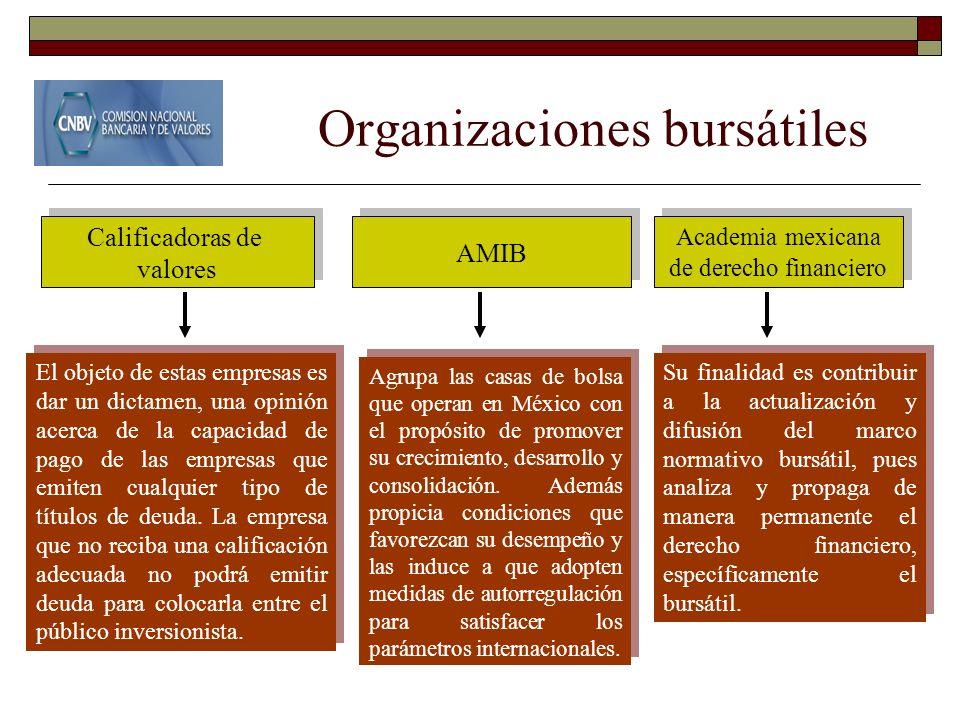 Organizaciones bursátiles Calificadoras de valores Calificadoras de valores Academia mexicana de derecho financiero Academia mexicana de derecho finan