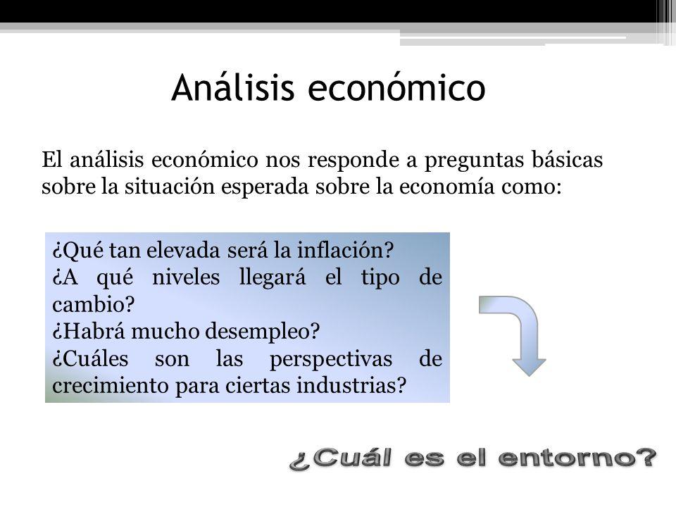 Análisis económico El análisis económico nos responde a preguntas básicas sobre la situación esperada sobre la economía como: ¿Qué tan elevada será la
