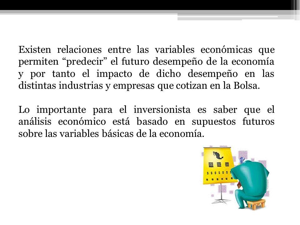 Existen relaciones entre las variables económicas que permiten predecir el futuro desempeño de la economía y por tanto el impacto de dicho desempeño e