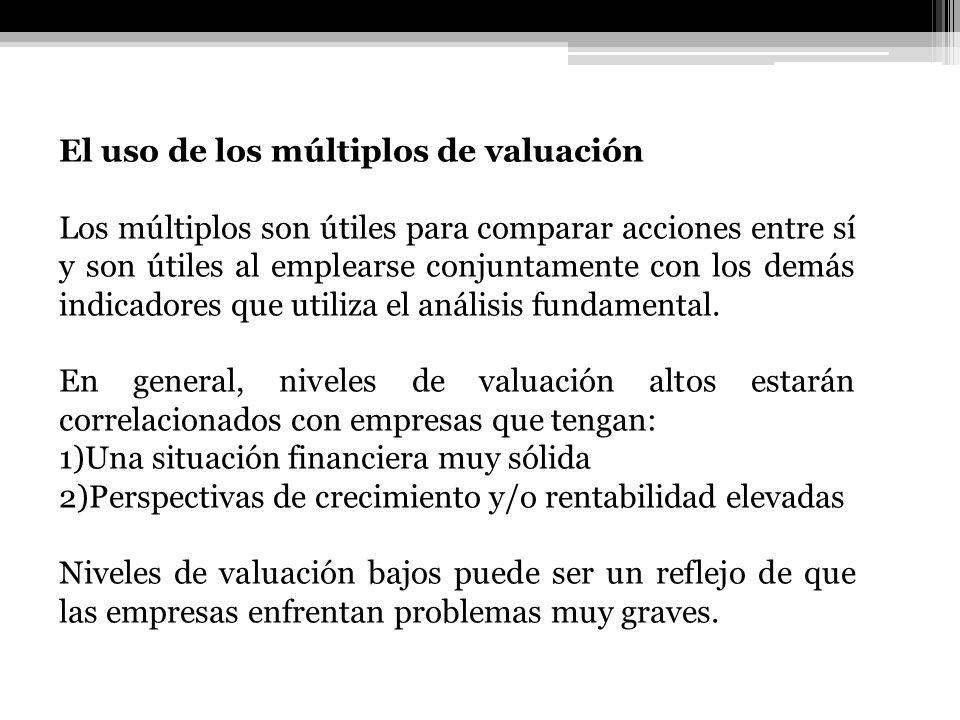 El uso de los múltiplos de valuación Los múltiplos son útiles para comparar acciones entre sí y son útiles al emplearse conjuntamente con los demás in
