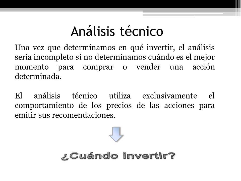 Análisis técnico Una vez que determinamos en qué invertir, el análisis sería incompleto si no determinamos cuándo es el mejor momento para comprar o v