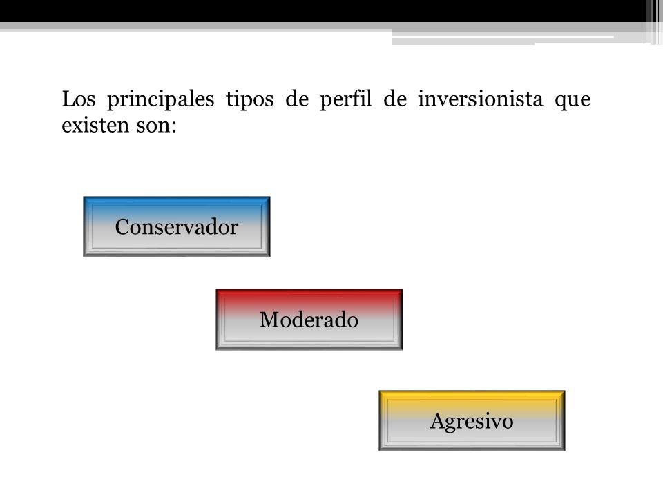 Los principales tipos de perfil de inversionista que existen son: Agresivo Moderado Conservador