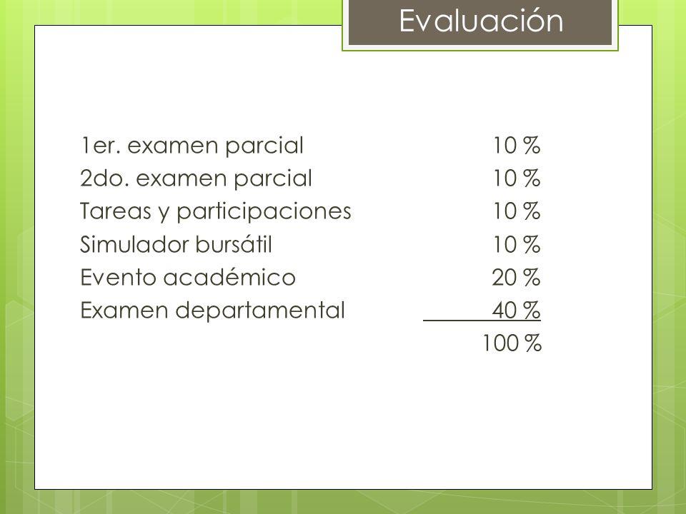 1er. examen parcial10 % 2do. examen parcial10 % Tareas y participaciones10 % Simulador bursátil10 % Evento académico20 % Examen departamental40 % 100
