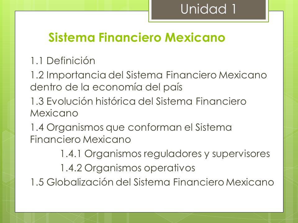 Sistema Financiero Mexicano 1.1 Definición 1.2 Importancia del Sistema Financiero Mexicano dentro de la economía del país 1.3 Evolución histórica del