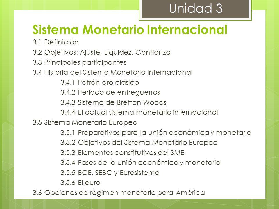 Sistema Monetario Internacional 3.1 Definición 3.2 Objetivos: Ajuste, Liquidez, Confianza 3.3 Principales participantes 3.4 Historia del Sistema Monet