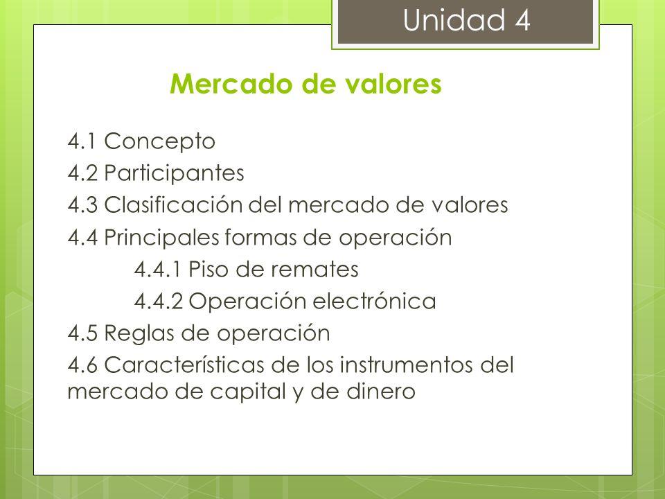 Mercado de valores 4.1 Concepto 4.2 Participantes 4.3 Clasificación del mercado de valores 4.4 Principales formas de operación 4.4.1 Piso de remates 4
