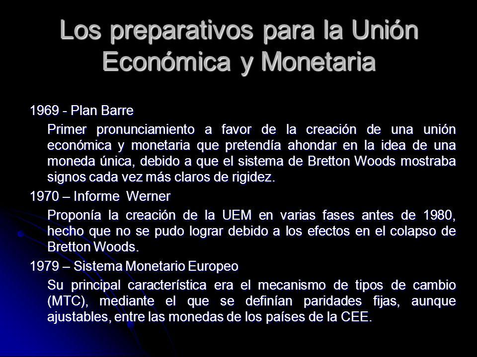 Los preparativos para la Unión Económica y Monetaria 1969 - Plan Barre Primer pronunciamiento a favor de la creación de una unión económica y monetari