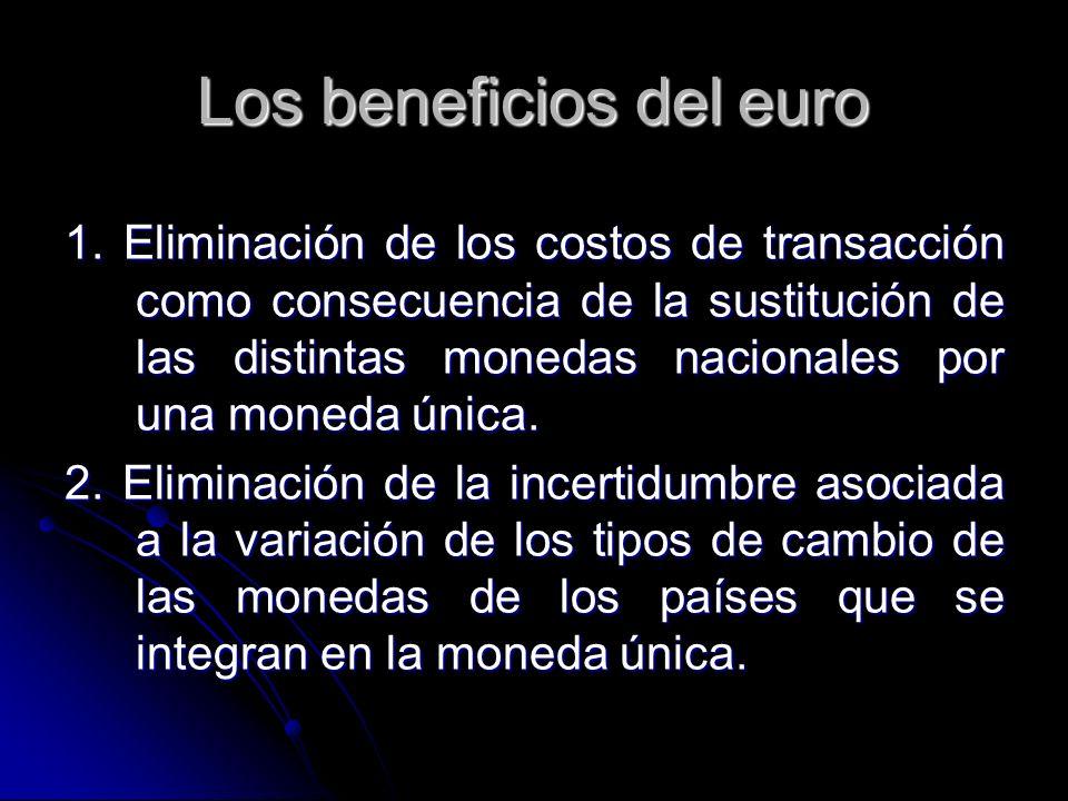 1. Eliminación de los costos de transacción como consecuencia de la sustitución de las distintas monedas nacionales por una moneda única. 1. Eliminaci