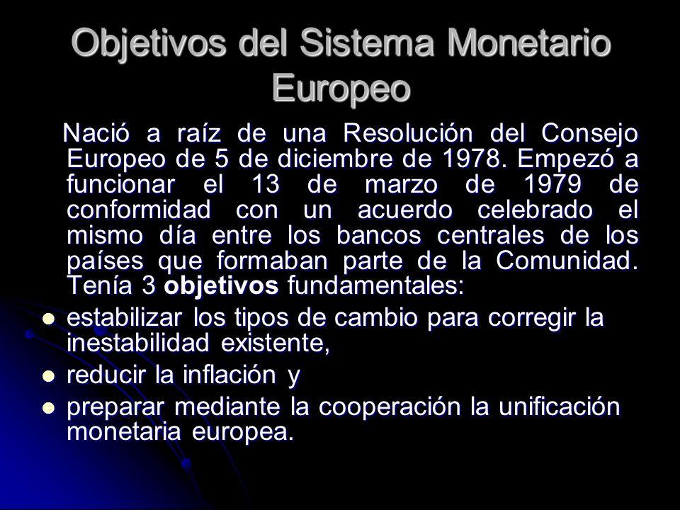 Objetivos del Sistema Monetario Europeo Nació a raíz de una Resolución del Consejo Europeo de 5 de diciembre de 1978. Empezó a funcionar el 13 de marz