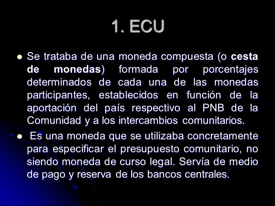 1. ECU Se trataba de una moneda compuesta (o cesta de monedas) formada por porcentajes determinados de cada una de las monedas participantes, establec