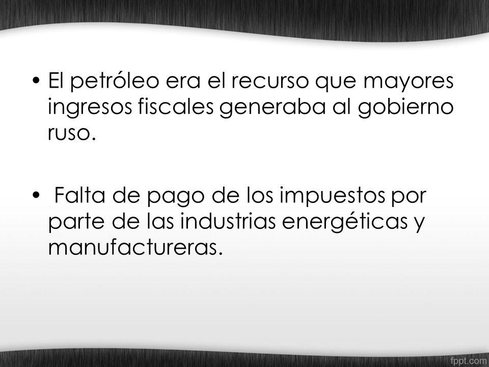 El petróleo era el recurso que mayores ingresos fiscales generaba al gobierno ruso. Falta de pago de los impuestos por parte de las industrias energét