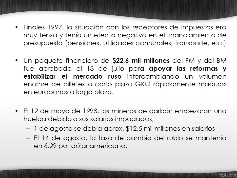 Finales 1997, la situación con los receptores de impuestos era muy tensa y tenía un efecto negativo en el financiamiento de presupuesto (pensiones, ut