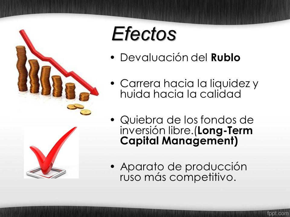 Efectos Devaluación del Rublo Carrera hacia la liquidez y huida hacia la calidad Quiebra de los fondos de inversión libre.( Long-Term Capital Manageme
