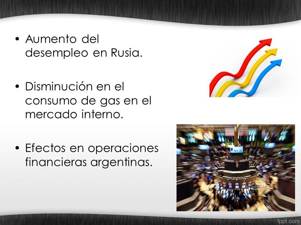 Aumento del desempleo en Rusia. Disminución en el consumo de gas en el mercado interno. Efectos en operaciones financieras argentinas.