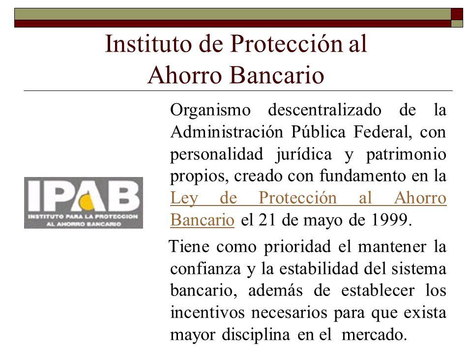 Instituto de Protección al Ahorro Bancario Organismo descentralizado de la Administración Pública Federal, con personalidad jurídica y patrimonio prop