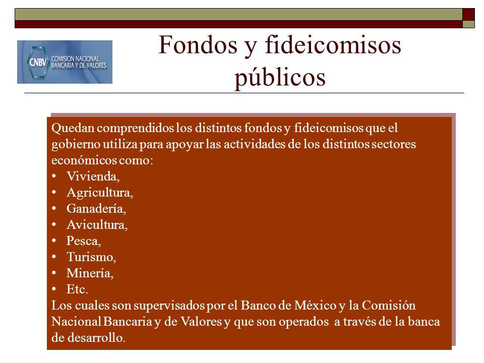 Fondos y fideicomisos públicos Quedan comprendidos los distintos fondos y fideicomisos que el gobierno utiliza para apoyar las actividades de los dist