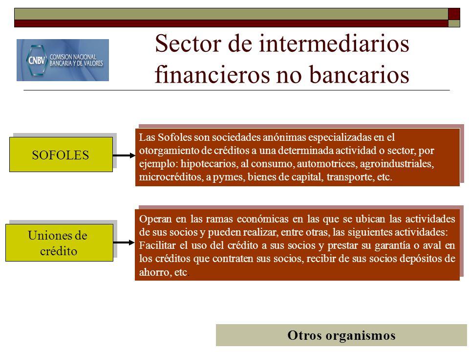 Sector de intermediarios financieros no bancarios Uniones de crédito Uniones de crédito SOFOLES Operan en las ramas económicas en las que se ubican la