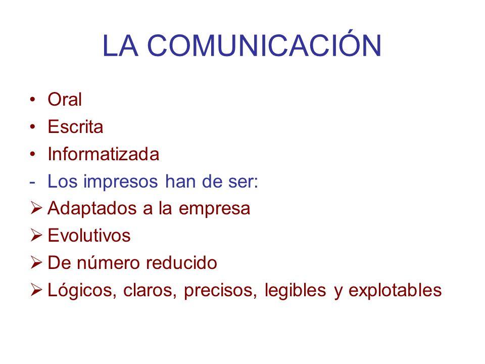 LA COMUNICACIÓN Oral Escrita Informatizada -Los impresos han de ser: Adaptados a la empresa Evolutivos De número reducido Lógicos, claros, precisos, l