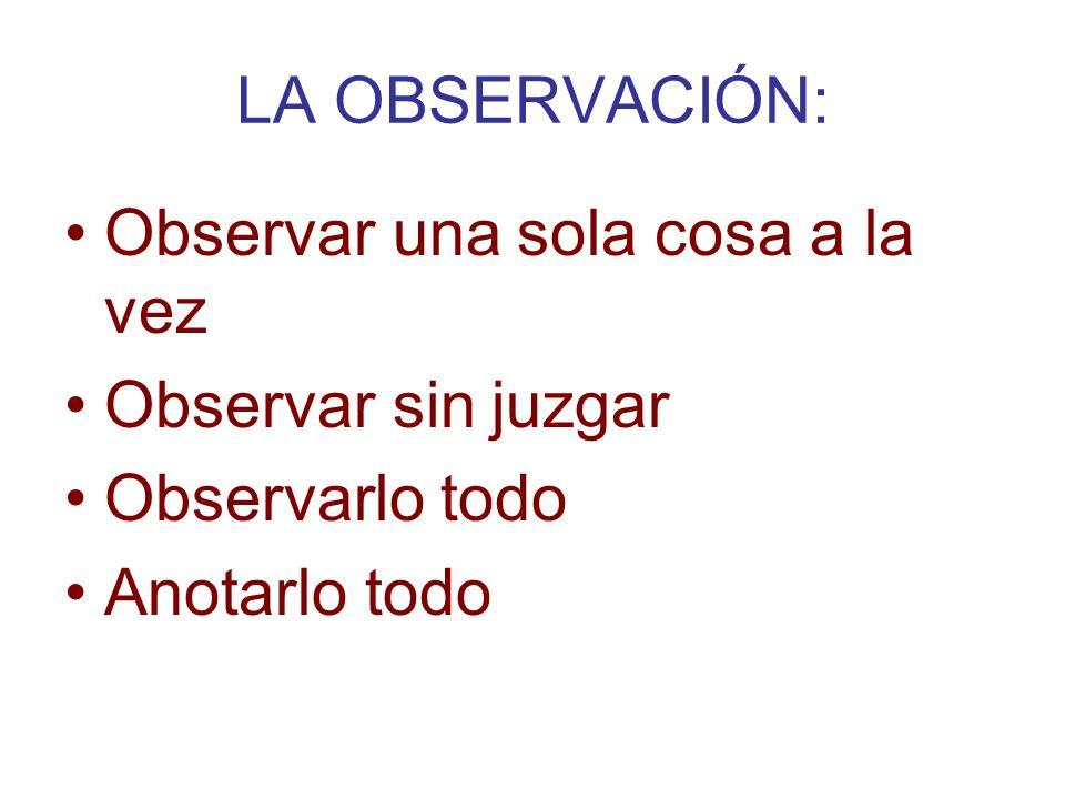 LA OBSERVACIÓN: Observar una sola cosa a la vez Observar sin juzgar Observarlo todo Anotarlo todo