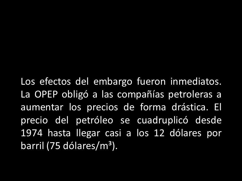 Los efectos del embargo fueron inmediatos. La OPEP obligó a las compañías petroleras a aumentar los precios de forma drástica. El precio del petróleo