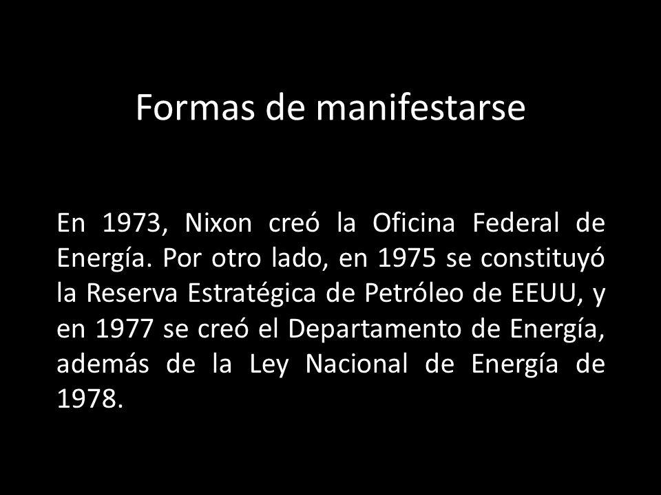 Formas de manifestarse En 1973, Nixon creó la Oficina Federal de Energía. Por otro lado, en 1975 se constituyó la Reserva Estratégica de Petróleo de E