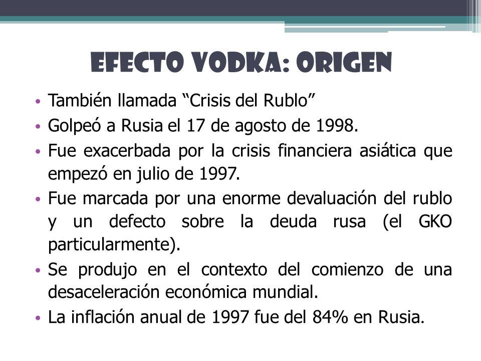 EFECTO VODKA: ORIGEN También llamada Crisis del Rublo Golpeó a Rusia el 17 de agosto de 1998. Fue exacerbada por la crisis financiera asiática que emp