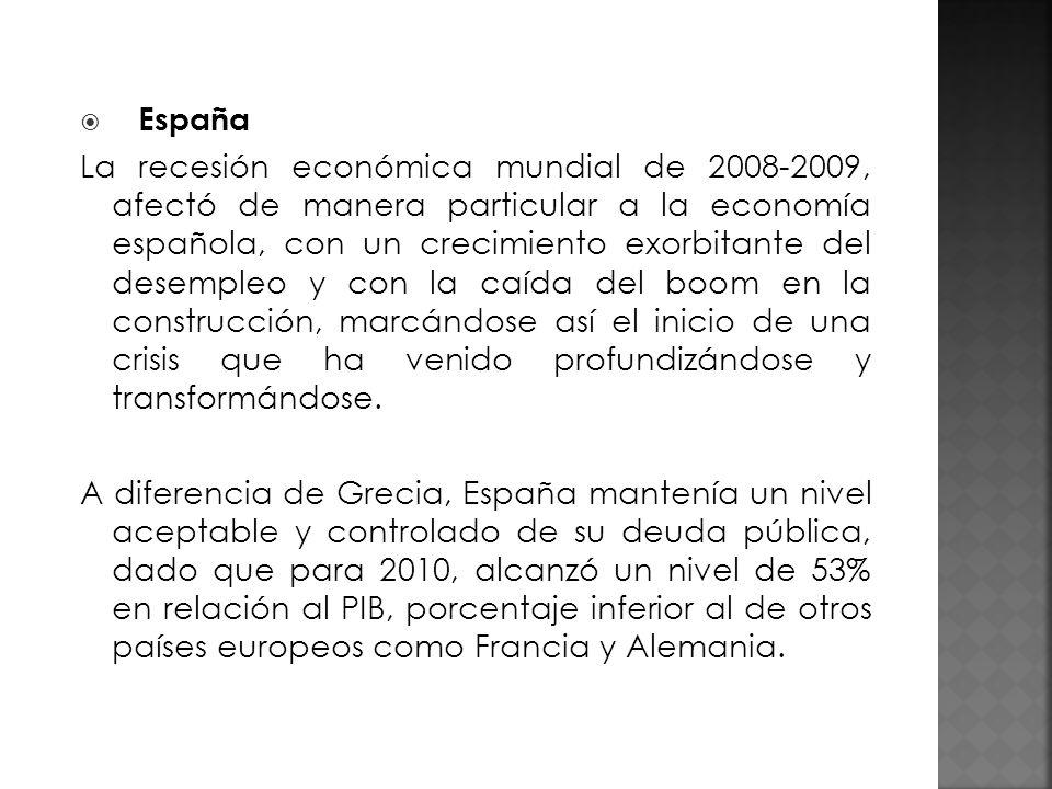 España La recesión económica mundial de 2008-2009, afectó de manera particular a la economía española, con un crecimiento exorbitante del desempleo y