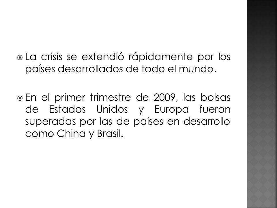 La crisis se extendió rápidamente por los países desarrollados de todo el mundo. En el primer trimestre de 2009, las bolsas de Estados Unidos y Europa