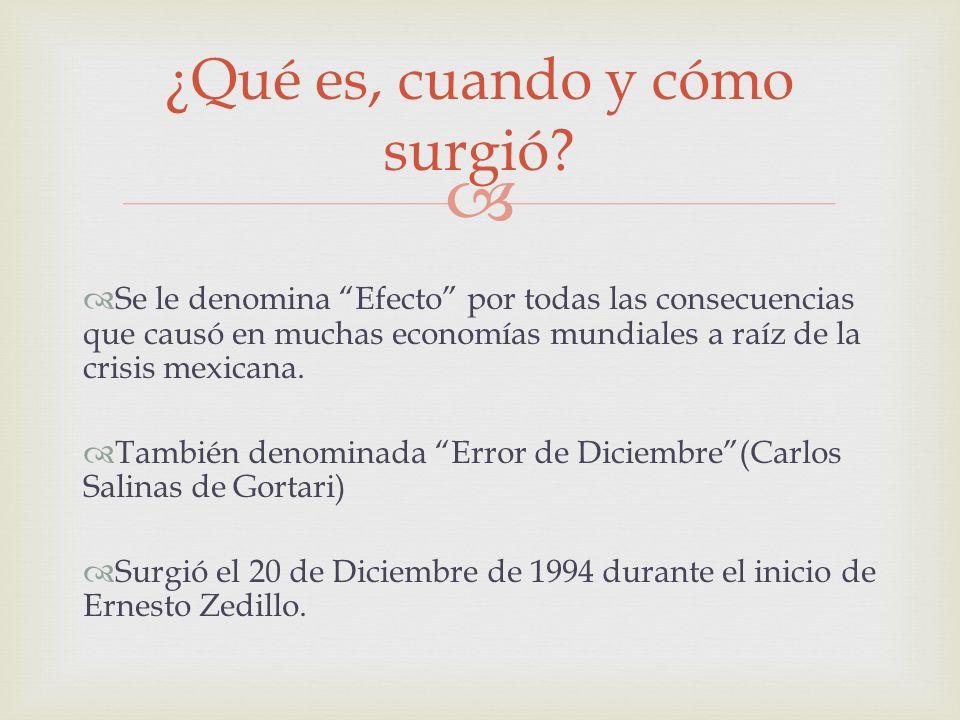 Se le denomina Efecto por todas las consecuencias que causó en muchas economías mundiales a raíz de la crisis mexicana. También denominada Error de Di