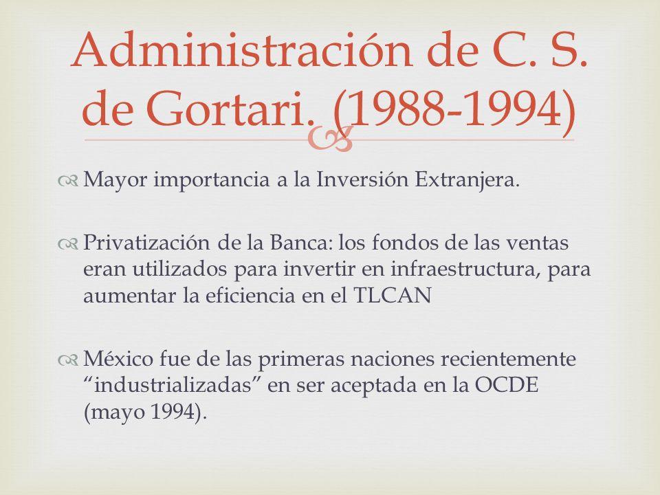 Mayor importancia a la Inversión Extranjera. Privatización de la Banca: los fondos de las ventas eran utilizados para invertir en infraestructura, par