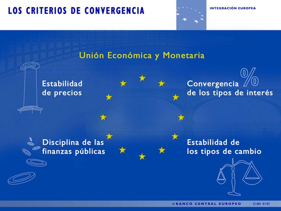 Criterios de convergencia Para que un país pudiera acceder a la tercera fase y adoptar el euro, tenía que cumplir con los Criterios de Convergencia que se estipularon en el Tratado de Maastricht: La inflación nominal no debería estar por encima del 1.5 por ciento del promedio de los tres miembros de la Unión Europea con las menores tasas de inflación durante el año anterior.